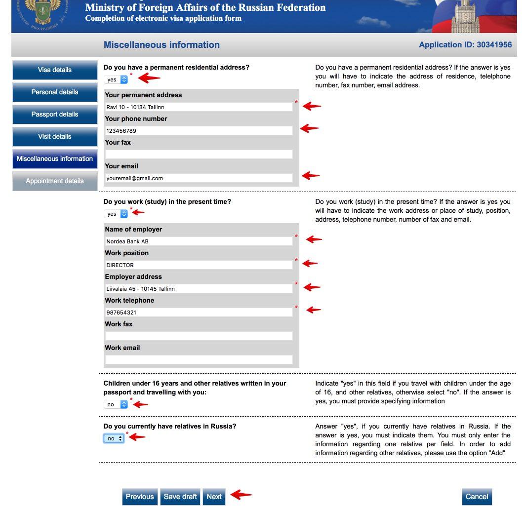 Fyll i det ryska viseringsansökningsformuläret i Sverige 7