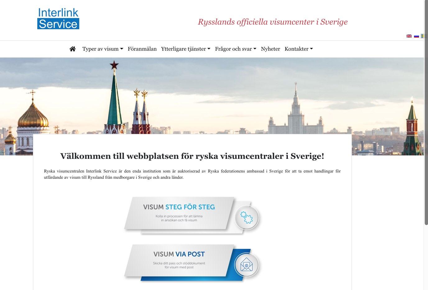 Visas centrum i Ryssland i Sverige